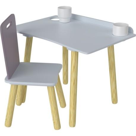 Escritorio y silla de madera de color ciruela