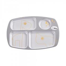 Plato con compartimento contorno gris/dorado