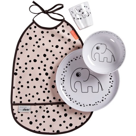 Set de vajilla con babero rosa (Happy dots)