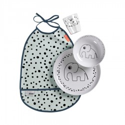 Set de vajilla con babero azul (Happy dots)