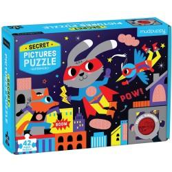 """Puzle """"el secreto de los superhéroes"""" de 42 piezas"""