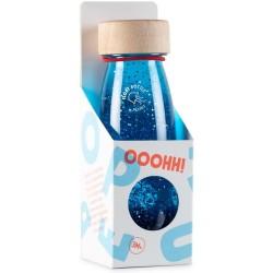 Botella sensorial con objetos flotantes (azul)