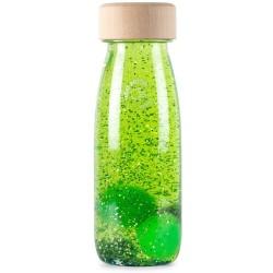 Botella sensorial con objetos flotantes (verde)
