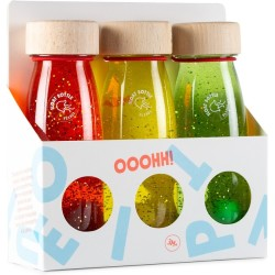Pack de 3 botellas sensoriales con objetos flotantes (twilight)
