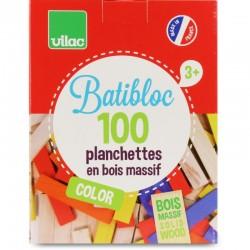 Juego de construcción de 100 piezas de madera coloreadas (BATIBLOC COLOR - 100 COLORED WOOD PIECES SET)