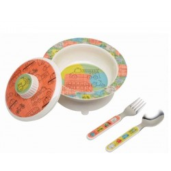 Vajilla con bol antideslizante con tapa, cuchara y tenedor Road Trip