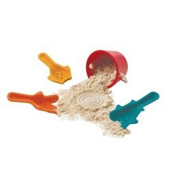 Set de cubo y 3 palas excavadoras para jugar en la arena