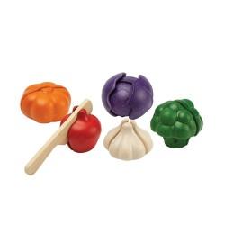 Set de 5 verduras de colores de madera