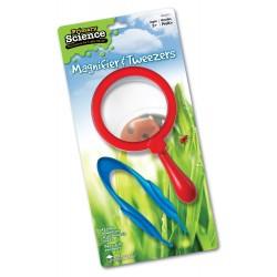 Lupa de explorador roja con pinzas azules