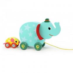 El elefante y el ratón musical de madera de arrastre