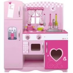 Cocina rosa de madera