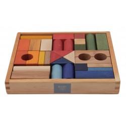 30 Bloques de construcción arcoíris de madera