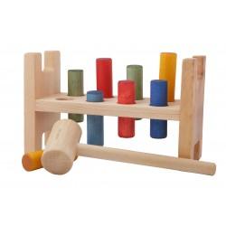 """Caja de madera """"Golpea y cae"""" de cilíndros"""