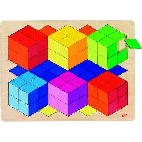 Puzzle óptico 3D de madera Arcoíris