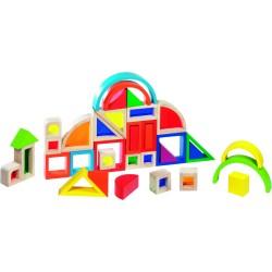 Caja de construccion de madera de colores Arcoíris