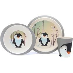 Set de plato, bol y vaso de bambú Pingüino