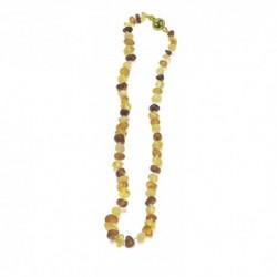 Collar de joyas ámbar multitonos largo