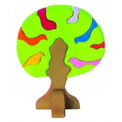 Puzle de madera Árbol y sus pajaritos de colores