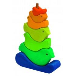 Pájaros apilables de colores neón de madera