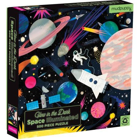 Puzle fluorescente de 500 piezas del espacio