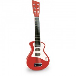 Guitarra de rock roja de madera