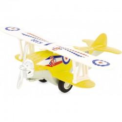Avión biplano retro-fricción amarillo