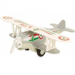 Avión biplano retro-fricción plateado
