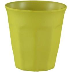 Vaso pequeño de bambú de color mostaza