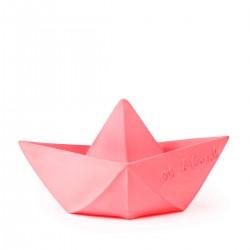 Barquito de origami de color rosa pastel mordedor de caucho