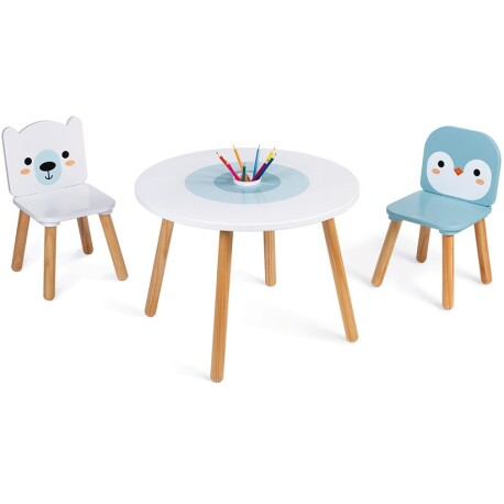 Mesa y sillas de madera color hielo marino