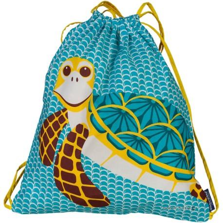Mochila de cordones 100% algodón orgánico de la tortuga