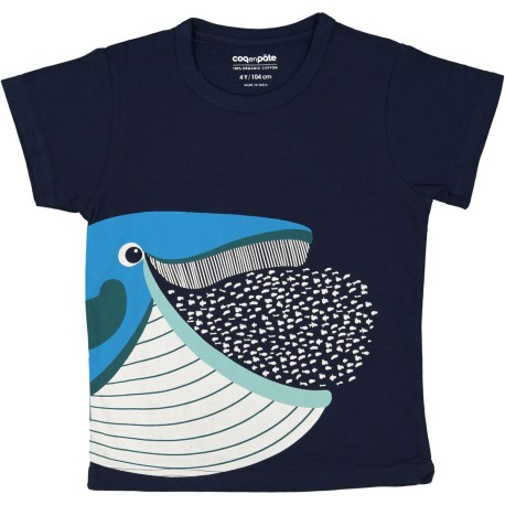 Camiseta de manga corta de algodón 100% orgánico de la ballena