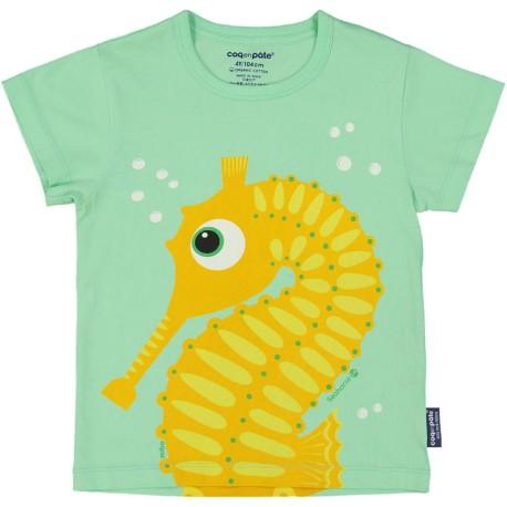 Camiseta de manga corta de algodón 100% orgánico del caballito de mar