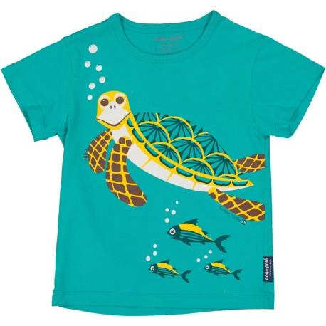 Camiseta de manga corta de algodón 100% orgánico de la tortuga