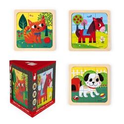 Set de 3 puzles de 9 piezas de los animales