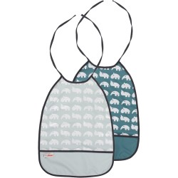 Pack de 2 Baberos impermeables (Bib, 2-pack, powder, raspberry, blue, green and grey tones)