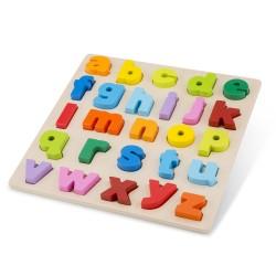 Tabla para encajar el abecedario en minúsculas de madera