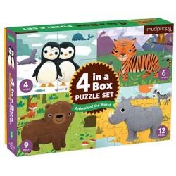 4 puzles en 1 de los animales del mundo