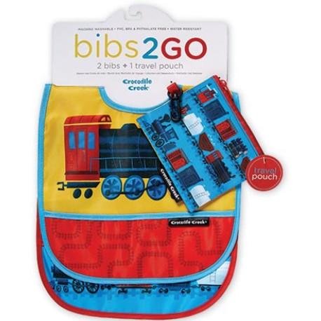 Pack de 2 baberos Bib2Go tren locomotora (Dinnerware Bib2Go Locomotive)