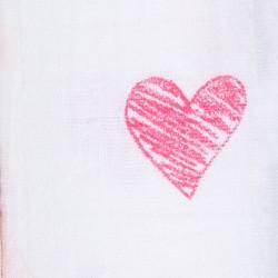 """Muselina de algodón """"lovebird swaddles"""" estampado corazones"""