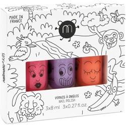 Pack de 3 pintauñas de la jungla: Kitty, Piglou y Dori