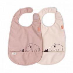 Pack de 2 baberos impermeables con velcro color rosa palo