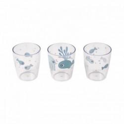 Pack de 3 mini vasos azules Yummy de los amigos del mar