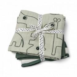 Pack de 3 muselinas de color verde