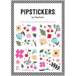 Hoja de pegatinas 10 x 10 Pipsticks de Cerezas y Flores