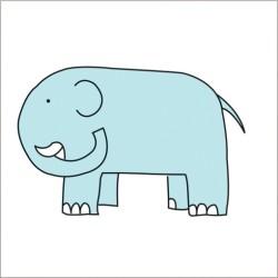 "Muselina pequeña de algodón ""jungle jam"" estampado elephant"