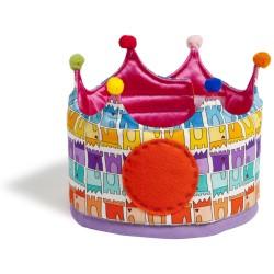 Corona grande de tela con estampado de castillos