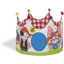 Corona grande de tela con estampado de personajes