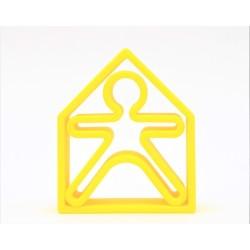 Kit de juguetes de silicona (muñeco + casa) de color amarillo