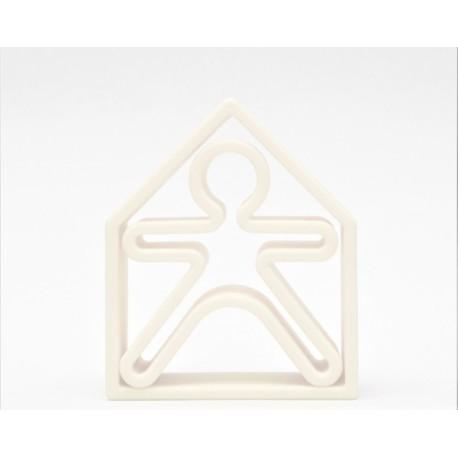 Kit de juguetes de silicona (muñeco + casa) de color blanco